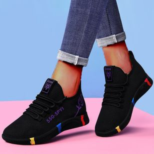 Women's Lace-up Low Top Fabric Cloth Flat Heel Sneakers (146677978)