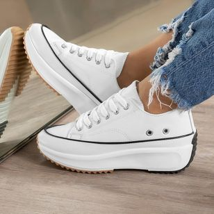 Women's Lace-up Flats Flat Heel Sneakers (146904586)