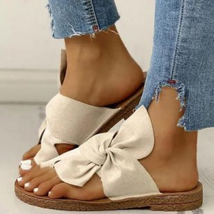 Women's Bowknot Toe Ring Canvas Nubuck Flat Heel Slippers (1536351)