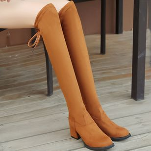 Knee High Boots Chunky Heel Shoes