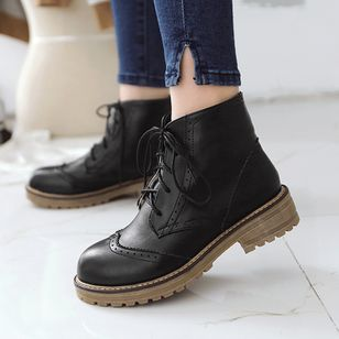 Women's Lace-up Ankle Boots Low Heel Boots (1385322)