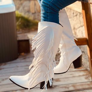 Women's Zipper Tassel Mid-Calf Boots Closed Toe Pointed Toe Chunky Heel Boots (107151880)