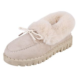 Women's Fur Round Toe Nubuck Flat Heel Loafers (146891869)