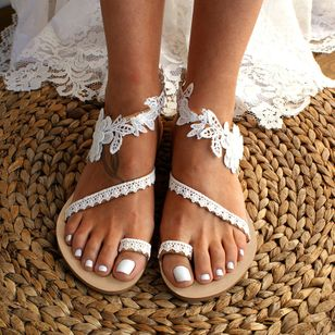 Women's Flower Toe Ring Lace Flat Heel Sandals (1340001)