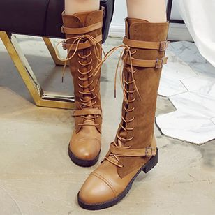 Buckle Lace-up Mid-Calf Boots Low Heel Shoes