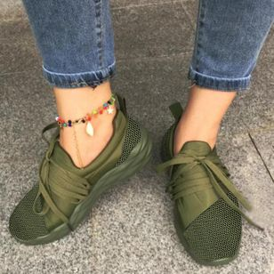 Women's Lace-up Closed Toe Cloth Wedge Heel Sneakers (106154499)