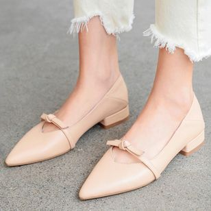 Women's Bowknot Closed Toe Pointed Toe Low Heel Flats (107952705)