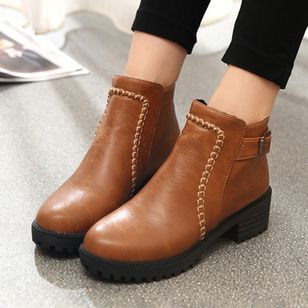 Buckle Ankle Boots Low Heel Shoes