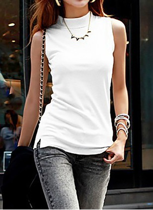 Cotton Solid High Neckline Sleeveless Casual T-shirts & Vests