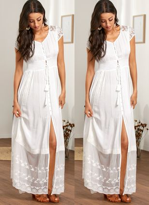 Casual Solid Embroidery Peasant Shift Dress (1424123)