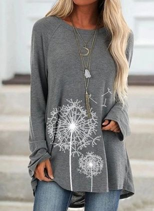 Floral Round Neck Long Sleeve Casual T-shirts (104917848)