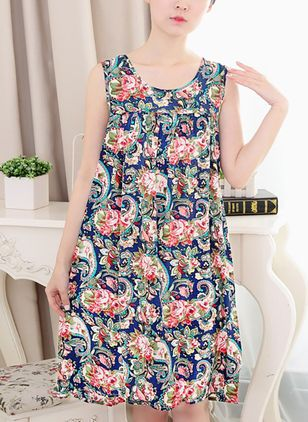 Floral Sleeveless Above Knee A-line Dress