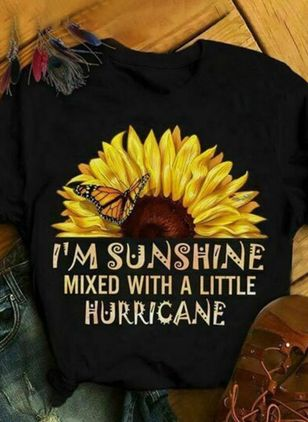 """I'm sunshine"" Floral Round Neck Short Sleeve Casual T-shirts (146957461)"