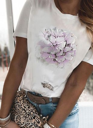 Floral Round Neck Short Sleeve Casual T-shirts (147076713)