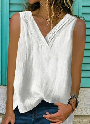 Solid V-Neckline Sleeveless Casual T-shirts (146964342)