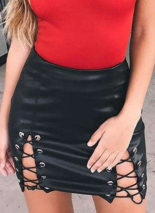 Cotton Solid Mini Sexy Others Skirts