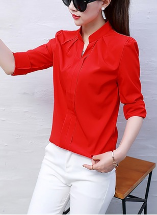 Solid Cute V-Neckline Half Sleeve Blouses