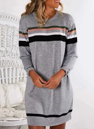 Casual Color Block Sweatershirt Round Neckline Shift Dress (146650936)
