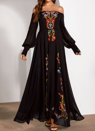 Elegant Floral Off the Shoulder Maxi X-line Dress (4864718)