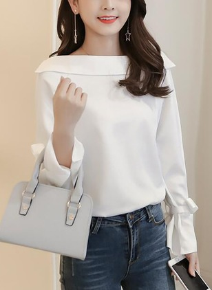 Solid Casual Chiffon Boat Neckline Long Sleeve Blouses