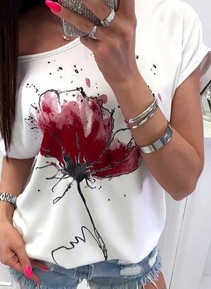 Floral Round Neck Short Sleeve Casual T-shirts (146788517)