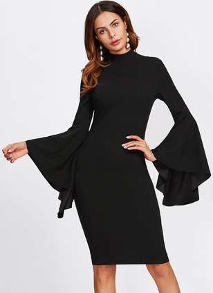 Polyester Spandex Solid Long Sleeve Knee-Length Dresses