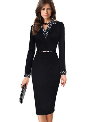 Polka Dot Pencil Collar Knee-Length Bodycon Dress