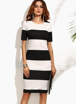 Cotton Polyester Stripe Short Sleeve Above Knee Dresses
