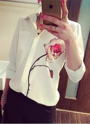 Floral Casual Chiffon Collar Long Sleeve Blouses