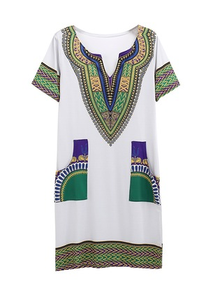 Color Block Embroidery Short Sleeve Shift Dress