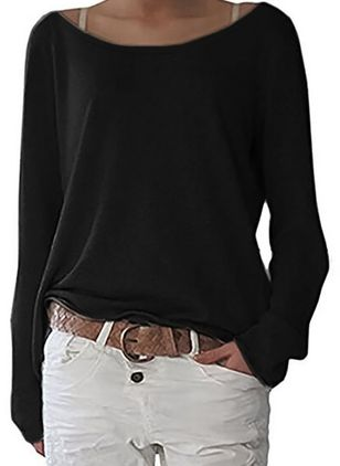 Round Neckline Solid Casual Loose Regular Sweaters (1441550)
