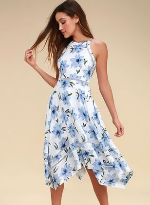 Floral Sleeveless Midi X-line Dress