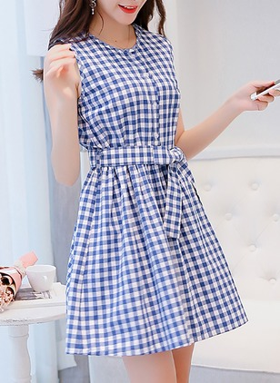 Cotton Blends Plaid Sleeveless Above Knee Dresses
