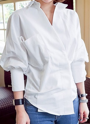 Solid Elegant Polyester Collar Long Sleeve Blouses