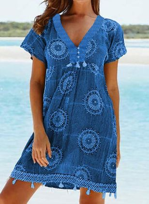 Polyester Geometric Cover-Ups Swimwear (146989145)