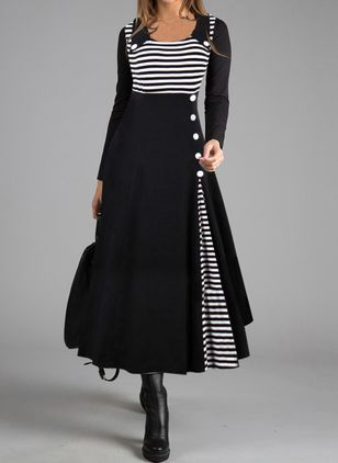 Casual Stripe Tunic Round Neckline A-line Dress (112602064)