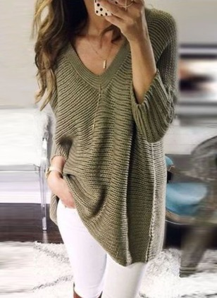 Knitted V-Neckline Solid Long None Sweaters