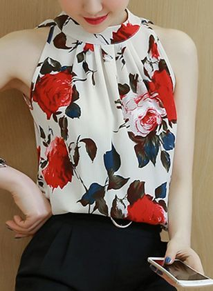 Floral Casual High Neckline Sleeveless Blouses