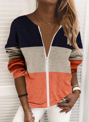 Color Block Casual V-Neckline Zipper Sweatshirts (146854595)