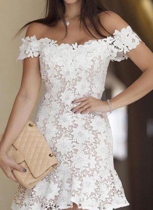 Solid Lace Pencil Off the Shoulder Sheath Dress