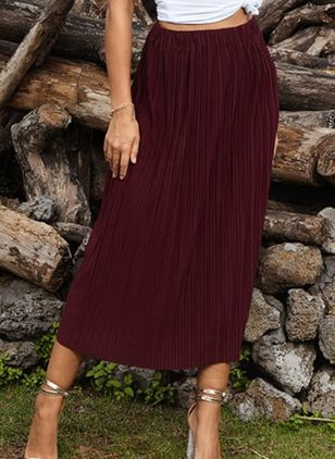 Solid Mid-Calf Casual Skirts (4047653)