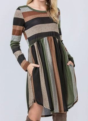 Casual Color Block Tunic Round Neckline A-line Dress (146683346)