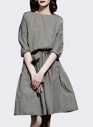 Polyester Plaid Half Sleeve Knee-Length Dresses