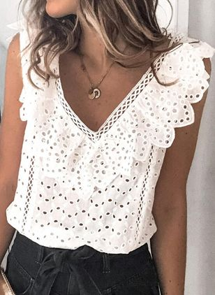 Solid Casual V-Neckline Sleeveless Blouses (100037693)