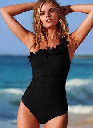 Polyester Oblique Neckline Solid Ruffles Asymmetrical One-piece Swimwear (4228940)
