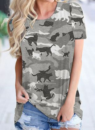 Animal Round Neck Short Sleeve Casual T-shirts (147220649)