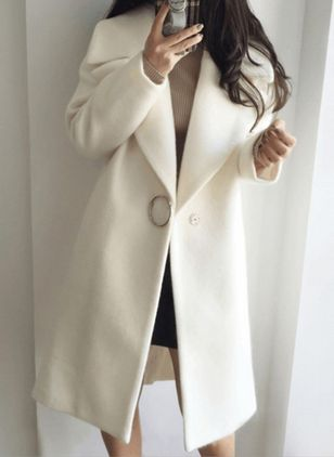 Long Sleeve Lapel Buttons Duffle Coats Coats (146812481)