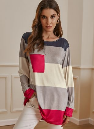 Round Neckline Color Block Casual Loose Long Pockets Sweaters (122029183)