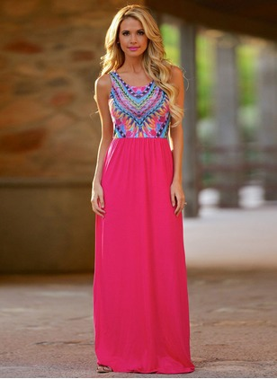Polyester Color Block Sleeveless Maxi Dresses