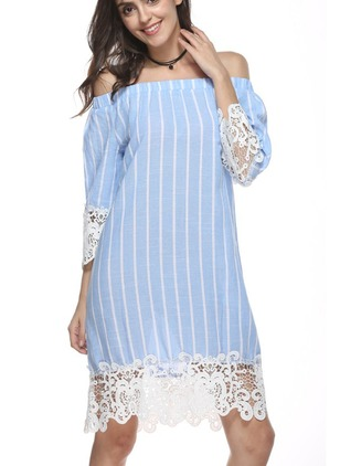 Stripe Lace Sweatershirt 3/4 Sleeves Shift Dress